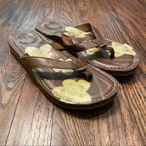 Clarks Brown Leather Floral Print Flip Flops